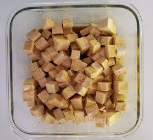 Tofu ready to marinate.