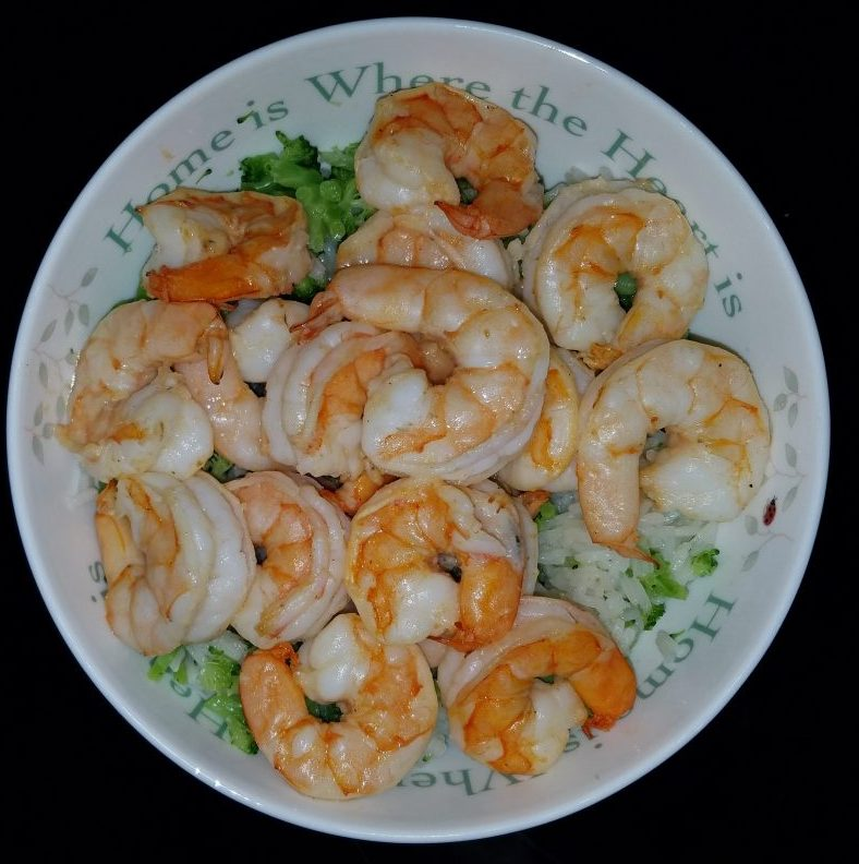 Lemon and Olive Oil Shrimp over Rice with Broccoli