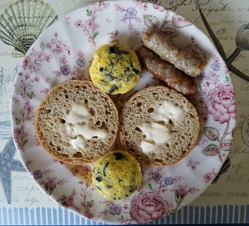 Button scrambled eggs with sausage and disappearing buns