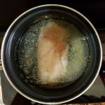 Chicken breast boiled to make broth
