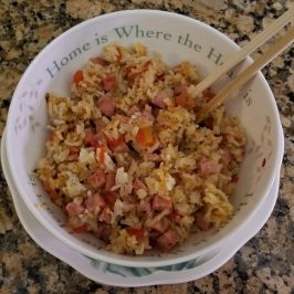 Cubed ham with tomato and spring onions fried rice