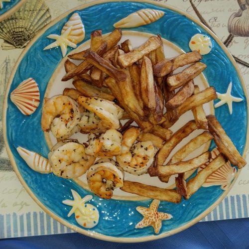 Fully loaded lemon basil shrimp dinner plate.