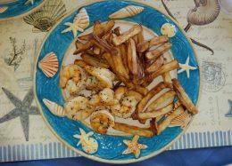 Lemon basil shrimp wit fries