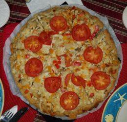 almond focaccia-pizza with tomato